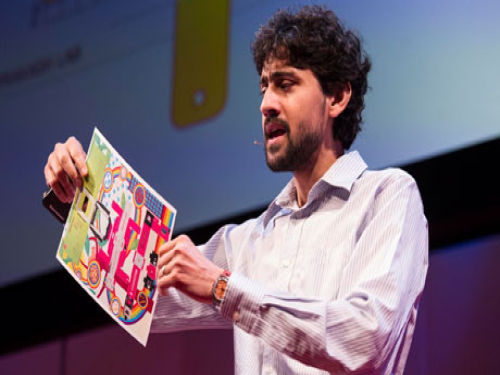 Manu Prakash demonstrates a microscope that can be printed out on a piece of paper